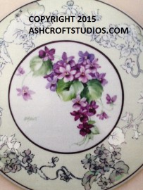 Single Violets with gold underlay with mother of pearl
