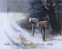 Mailboxes in the snow watercolor painting