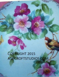 Wild Roses with Bird and Butterfly